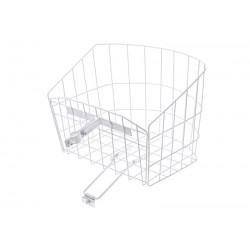 Košík drôtený na riadidlá s objímkou, polguľatý, biely