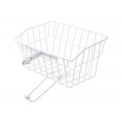 Košík drôtený  na riadidlá s objímkou, veľký, biely