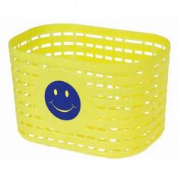 Košík predný plast, detský, žltý motív smajlík