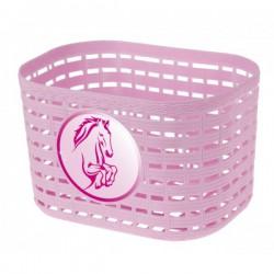 Košík predný plast, detský, ružový motív koník