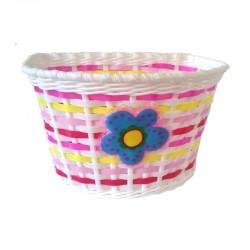 Košík predný plast, detský, biely, motív kvietok