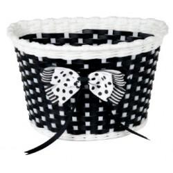 Košík predný plast, detský, čierno/biely