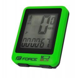 Tachometer  FORCE WLS 10 funkcí bezdrát, fluo zelený