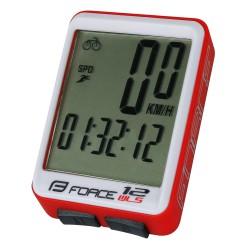 Tachometer FORCE WLS 12 funkcií, bezdrát. červený
