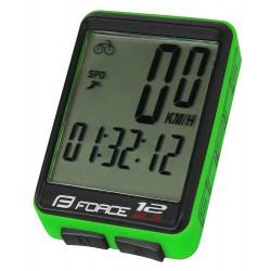 Tachometer FORCE WLS 12 funkcií, bezdrát. fluo zelený