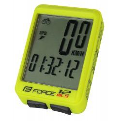 Tachometer FORCE WLS 12 funkcií, bezdrát. flou žltý
