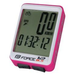 Tachometer FORCE WLS 12 funkčný,  bezdrát. ružový
